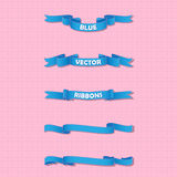 Set of blue wavy banners on gentle background Royalty Free Stock Photo