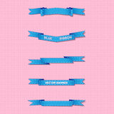 Set of blue wavy and sharp banners on gentle background Stock Photos