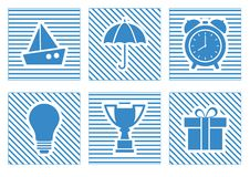 Set of blue web icons. Vector illustration royalty free illustration