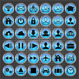 Set of blue web, multimedia and business icons Stock Photography