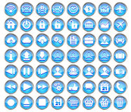 Set of blue web, multimedia and business icons Royalty Free Stock Photos