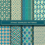 Set of blue white abstract ethnic geometric seamless pattern. Royalty Free Stock Photo