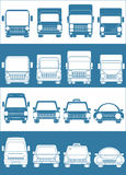 Set blue and white car. S with truck passenger car royalty free illustration