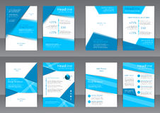 Set of the blue and white flyers, cover and report with place for text Royalty Free Stock Image