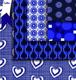 Set blue and white geometric patterns Royalty Free Stock Image