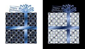 Set of Blue and White Birthday Gifts with Blue Ribbon and Bow. Two beautiful blue and white square gift wrapped in blue ribbon and bow. Both have a blue and Stock Photography