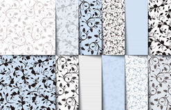 Set of blue, white and gray seamless floral patterns. Vector illustration. Royalty Free Stock Photo