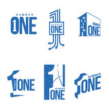 Set of blue and white number one logo templates Royalty Free Stock Photo