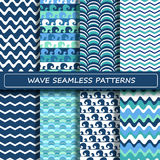 Set of blue and white sea wave seamless patterns. Scrapbook design elements. All patterns are included in swatch menu Stock Photos