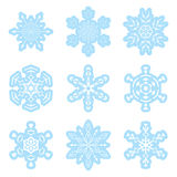 Set - vector blue and white snowflakes Royalty Free Stock Image
