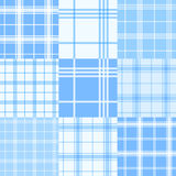 Set of blue and white tartan seamless patterns. Vector illustration. Vector set of nine blue and white tartan seamless patterns Stock Photos