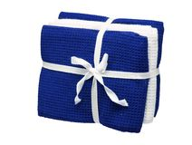 Set of blue and white towels isolated on white background. Close up, high resolution Stock Photography
