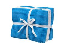 Set of blue and white towels isolated on white background. Close up, high resolution Royalty Free Stock Images