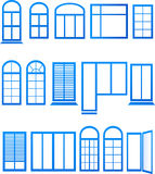 Set of blue window icons Stock Image