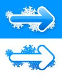 Set of blue winter arrow stickers. With shadow Royalty Free Stock Photos
