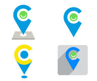 Set of blue and yellow Location sign Stock Images