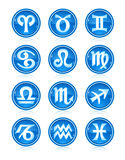 Set of blue zodiac astrology icons for horoscope Royalty Free Stock Photos