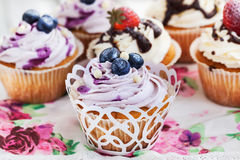 Set of  blueberry and strawberry cupcakes Stock Image