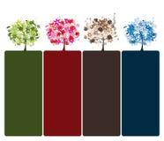Set Blumenbäume schön Stockfoto