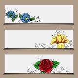 Set Blumenfahnen Stockfotografie