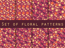 Set Blumenmuster Nahtloses Muster mit Blumen Lizenzfreie Abbildung