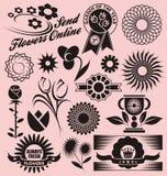 Set Blumensymbole, -ikonen und -zeichen stock abbildung