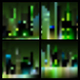Set of  blur night city backgrounds Stock Image