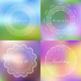 Set of blured backgrounds with retro style sign. Frame  with tex Royalty Free Stock Photography