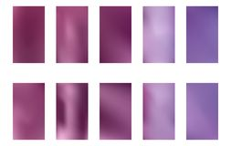 Set of blurred nature dark purple violet pink and blue backgrounds. Smooth banner template. Easy editable soft colored vector. Illustration. Ecology concept for royalty free illustration