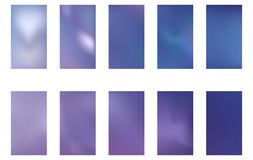 Set of blurred nature dark purple violet pink and blue backgrounds. Smooth banner template. Easy editable soft colored vector. Illustration. Ecology concept for vector illustration