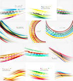 Set of blurred smooth color waves on white background Stock Photos