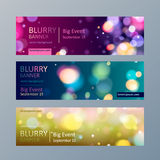 Set of blurry bokeh banners templates. Set of colorful blurry bokeh web site banners templates Stock Image