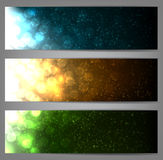 Set of blurry christmas banners. Glowing shiny colorful christmas banners. Vector eps10 Royalty Free Stock Images