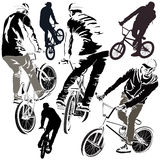 Set of BMX Bikers Royalty Free Stock Photography