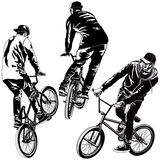 Set of BMX Bikers. Collection of vector BMX bikers in various poses Royalty Free Stock Image