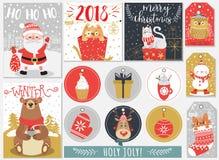 Set boże narodzenia i nowy rok przylepia etykietkę i karty ilustracja wektor