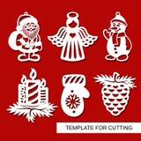Set boże narodzenie dekoracja - sylwetki anioł, Święty Mikołaj, bałwan, świeczki, sosna rożek, mitynka ilustracji