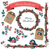 Set boże narodzenie ornamenty z jagodami ilustracja wektor