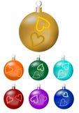 Set boże narodzenie piłki w siedem kolorów wariantach Zdjęcia Stock