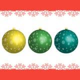 Set boże narodzenie piłki z płatkami śniegu Zdjęcia Royalty Free