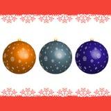 Set boże narodzenie piłki z płatkami śniegu Zdjęcie Royalty Free