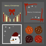 Set Bożenarodzeniowe ikony - świeczki, łęki, bałwan, płatki śniegu, Bożenarodzeniowe piłki Zdjęcia Stock