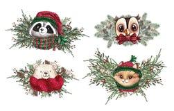 Set Bożenarodzeniowego las kreskówki Ślicznego lasowego niedźwiedzia śliczny sowy, kota i szopa zwierzęcia charakter, Zima ustawi ilustracja wektor