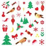 Set Bożenarodzeniowi charaktery i ikony Dzieciaki w świątecznych kostiumach Fotografia Royalty Free