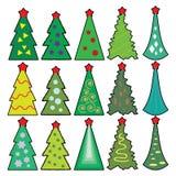 Set Bożenarodzeniowi ikon drzewa w uproszczonym stylu Fotografia Stock