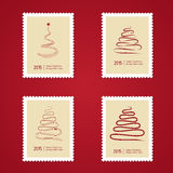 Set Bożenarodzeniowi znaczki pocztowi z drzewem Zdjęcia Stock