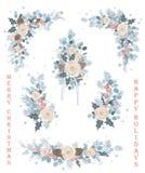 Set Bożenarodzeniowy wektorowy kwiecisty, kwitnienie rozgałęzia się, kwiaty, zawijasy, wianki i kąty, ilustracji