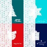 Set bożych narodzeń i nowego roku kartka z pozdrowieniami szablony - akcyjny wektor Tło z Bożenarodzeniowym symbolu wzorem Płatek Fotografia Stock