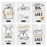 Set bożych narodzeń i nowego roku sprzedaż mobilni sztandary Zdjęcie Stock