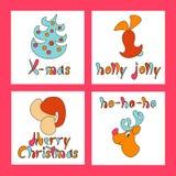 Set bożych narodzeń kartka z pozdrowieniami Set wizerunki dla 2017 i nowego roku wieczór swiat również zwrócić corel ilustracji w Obraz Royalty Free